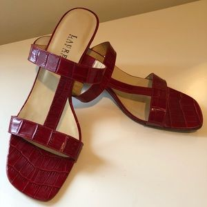 Ralph Lauren Red Heeled Sandals